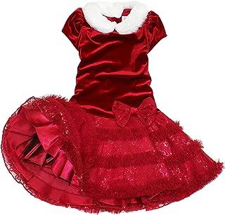 Girl's Velvet & Sequins Tutu Christmas Dress