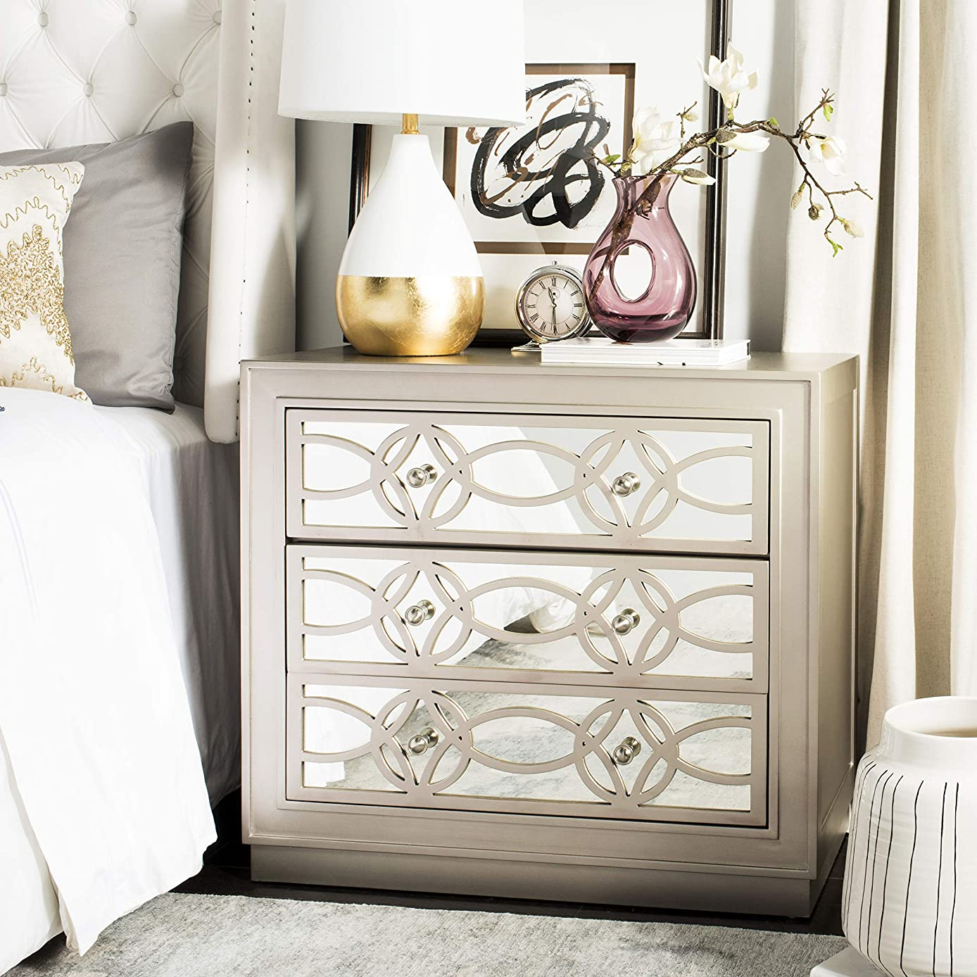 Safavieh CHS6400A Home Collection Catalina Champagne and Nickel 3 Chest of Drawers Mirror