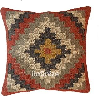 iinfinize - Funda de cojín de yute de lana india para decoración del hogar