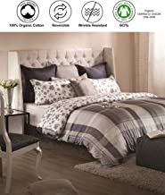 A1 Home Collections A1HC Madras Reversible 100% Organic Cotton Set I GOTS Certified Duvet Cover and Sham Set of 2 I Wrinkle Resistant & Digital Printed,Internal Ties I Button Closure, 88x92, Queen