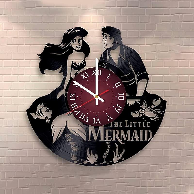 The Little Mermaid Vinyl Record Wall Clock Kids Room Wall Decor Gift Ideas For Kids Girls Boys Teens Cartoon Unique Art Design