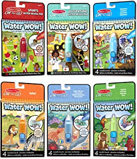 Melissa & Doug On The Go Water Wow! Reusable Color with Water Activity Pad 6-Pack (Water-Reveal Coloring Books, Chunky-Size Water Pens, Great Gift for Girls & Boys - Best for 3, 4, 5, and 6 Year Olds