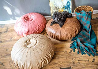 """RISEON Boho Handmade Faux Leather Moroccan Pouf Footstool Ottoman Leather Poufs Unstuffed 25.6"""" x 9.84"""" -Round Floor Cushion Footstool for Living Room, Bedroom and Under Desk (Tan)"""