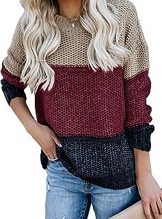 Womens Color Block Oversized Crewneck Sweaters Striped...