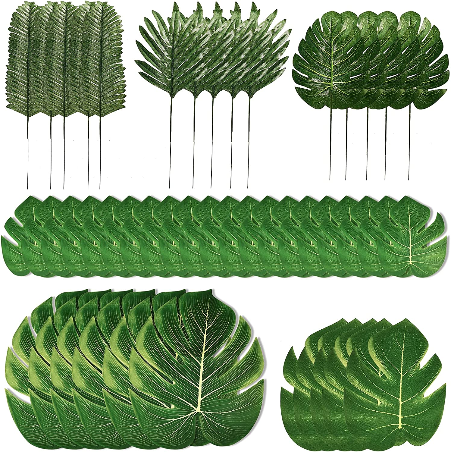 PartyWoo Palm Leaves, 90 pcs Fake Leaves, Artificial Leaves, Hawaiian Party Decorations, Luau Birthday Party Decorations, Fiesta Party Decorations, Tropical Party Supplies, Flamingo Party Supplies