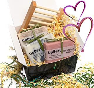 Olive Oil Soap - 4pc Handmade Natural Gift Set-Coffee Exfoliating Soap,Cleansing Charcoal Soap,Rose Oil Moisturizing Soap & Wood Soap Dish.Natural Unique Gift Idea. Great Birthday Gifts for Women,Men