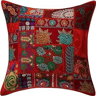 Janki Creation Funda de cojín Decorativa para sofá, diseño Bohemio Indio, Bordado étnico, Lentejuelas, Patchwork, Fundas de Almohada Tradicionales, Funda de cojín de 40,6 x 40,6 cm