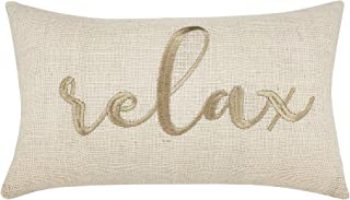 DecorHouzz Burlap Rustic Home Sweet Home Embroidered Decorative Lumbar Pillow Cover for Housewarming Guest Entryway Family Farmhouse Beach Porch Bench (Relax (Offwhite), 12