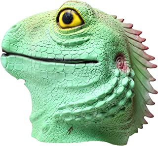 Lizard mask Novelty Halloween Costume Party Latex Animal Mask Full Head for Adults Blue