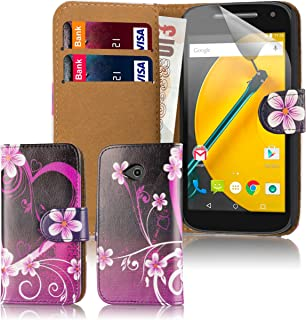 Case for Motorola Moto E 2nd Gen (2015) Premium PU Leather Designer Book Wallet Style Cover by 32nd - Love Heart Design