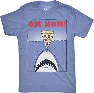 Mens Om Nom Pizza Shark Tshirt Funny Vintage Ocean Sealife Tee