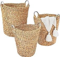 Artera Tall Wicker Storage Basket - Set of 3 Woven Water Hyacinth Blanket Baskets with Handle, Natural Nesting Storage Bin...
