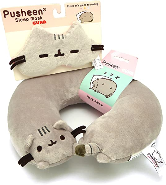 GUND Pusheen Neck Pillow Bundle With Eye Mask