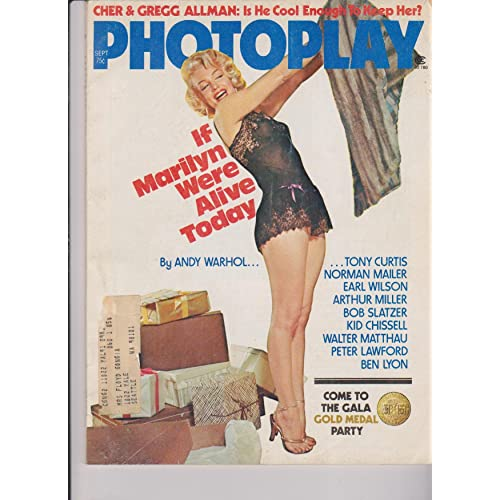 photoplay magazine september 1975 marilyn monroe on cover in black negligee holding a mink coat if marilyn were alive today by andy warhol