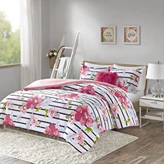 Comfort Spaces Zoe Comforter Set Printed Striped Floral Design with Faux Long Fur..