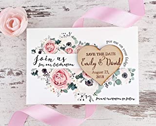 Rustic Save the Date, Wooden Heart Save The Date Magnet With Floral Card, Custom Heart Save-The-Date Magnet, Heart Wood Magnet - SET OF 20