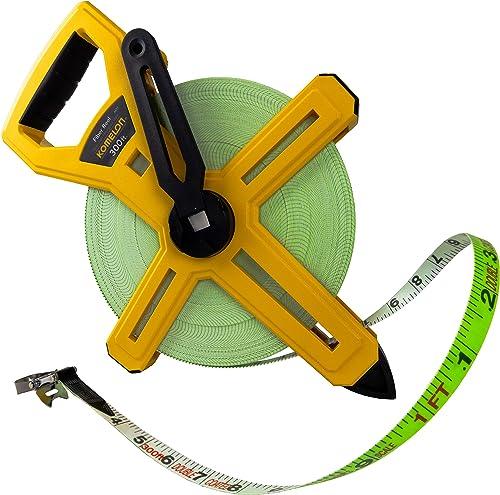 Komelon 6633 Open Reel Fiberglass Tape Measure, 300-Feet, Yellow