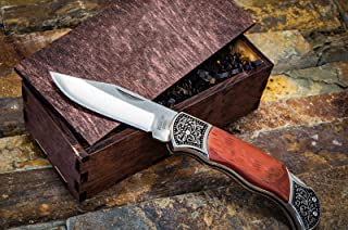 Gentleman's Pocket Knives w/Wood Boxes- Rustic Wooden Groomsmen Gift Box Set- Groomsman Knife, Husband, Boyfriend or Mens Wedding Gifts- Folding Blade Locks When Open LB318