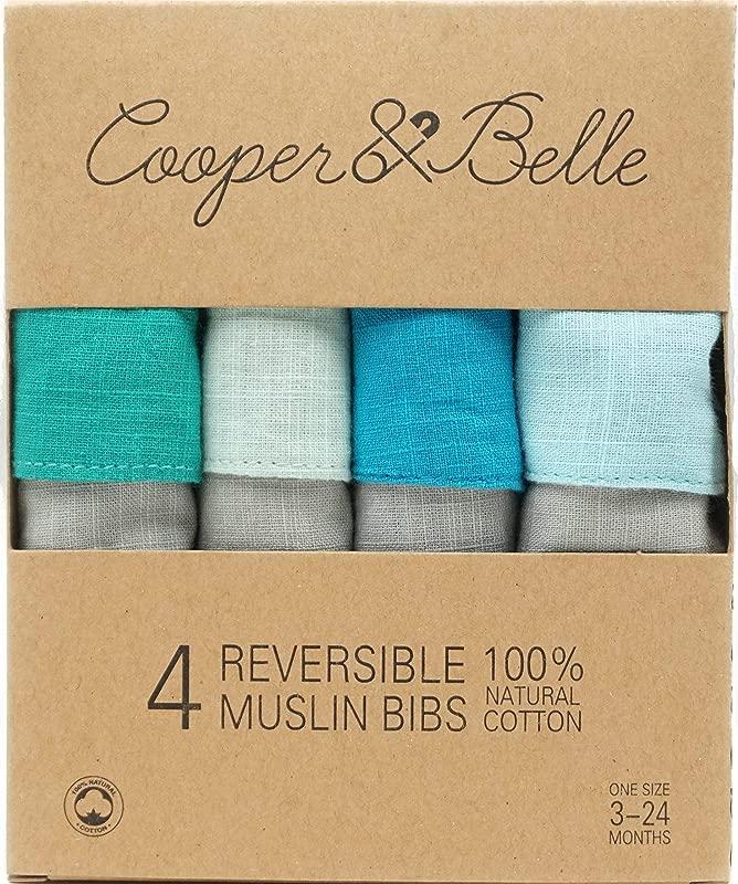 Cooper Belle Ocean Baby Bandana Bibs 4 Pack 100 Cotton Muslin Reversible And Super Absorbent Drool Bibs