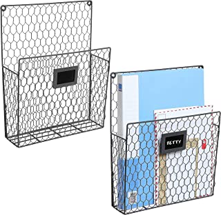 Set of 2 Wall Mounted Chicken Wire Magazine Organizer Rack with Chalkboard Label, Gray