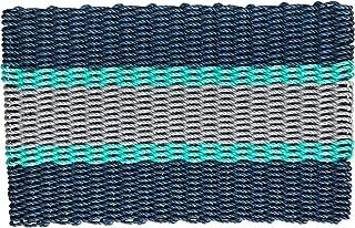 Wicked Good Lobster Rope Doormats, Handwoven Nautical Rope Doormats (24 x 36 x 1.25, Navy, Teal, Silver)