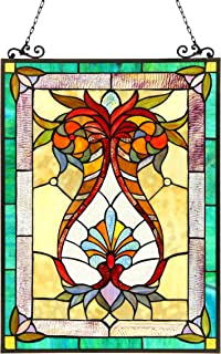 Chloe Lighting 17.5x25 THEODORE Tiffany-glass Victorian Window Panel, One Size