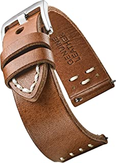Hand Made, Hand Stitched Vintage Leather Watch Strap with Quick Release Spring Bars - Black, Bown, Tan - 20mm, 22mm, 24mm