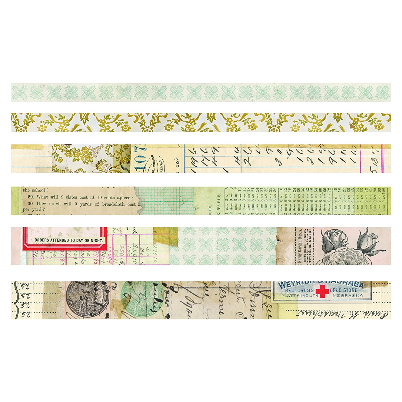 Advantus TH93672 Salvaged Idea-Ology Design Tape Multicolor