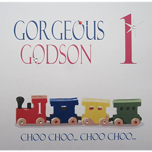 WHITE COTTON CARDS Gorgeous 1 Choo Handmade 1st Birthday Card Godson Train