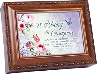 Cottage Garden Be Strong God is with You Woodgrain Rope Trim Music Box Plays Amazing Grace