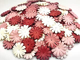 TH 50 pcs. Daisy Paper Flowers 25 mm. Mixed Tone Mauve Petal Flower die cuts Mulberry Paper Flower Craft Handmade Wedding ...