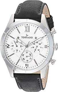 Tornado Men's Silver Dial Leather Band Watch - T8105-SLBS