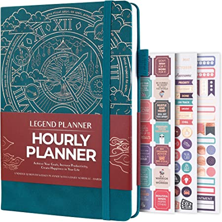 Legend Planner Hourly Schedule Edition – Deluxe Weekly & Daily Organizer with Time Slots. Time Management Appointment Book Journal for Work & Personal Life, Undated, A5 Hardcover – Dark Teal Gold