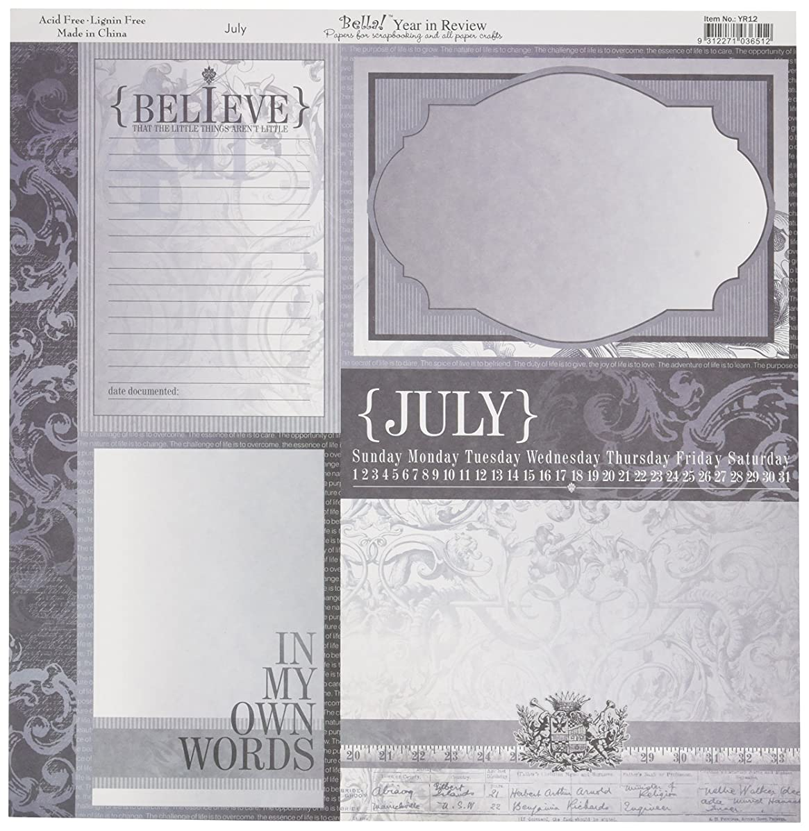 Ruby Rock-It Year In Review Double-Sided Cardstock 12