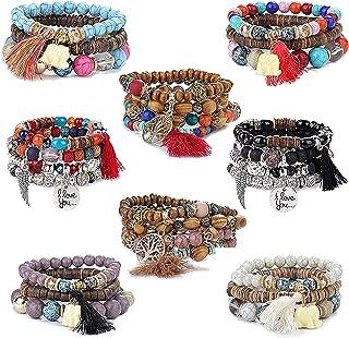 8 Set Pulseras Mujer Pulseras De Madera Bolas Strand Multilayer Flecos Pulsera Elefante Bracelet Boho Jewellery Gift para Mujeres Niñas