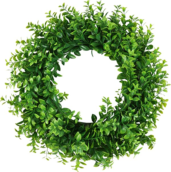 Ivalue 17 Eucalyptus Wreath Artificial Green Leaves Round Wreath Front Door Wreath Home Office Wall Decor Indoor Outdoor 17inches E Green