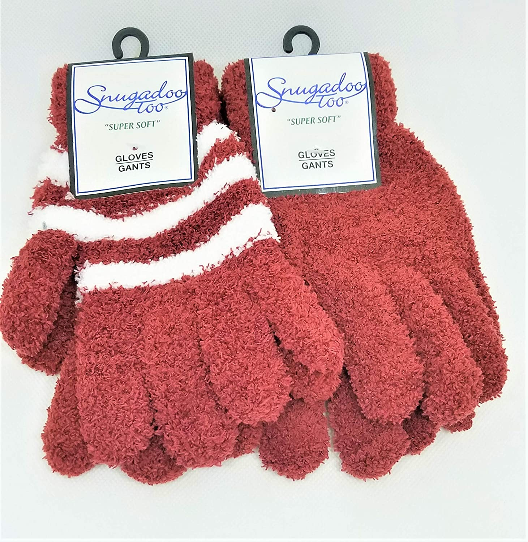 Snugadoo Super Soft Gloves - Adult 2 pack Maroon/White