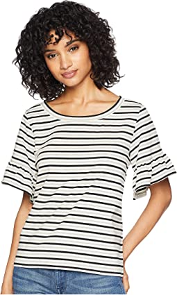 Wind Down Striped Ruffle Sleeve Tee