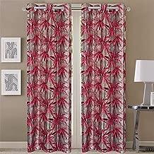 Queenzliving Elements Curtain, Door 7 feet- Pack of 2, Red