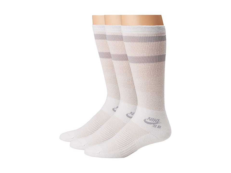 Nike Crew Skateboarding Socks 3-Pair Pack (White/Wolf Grey) Crew Cut Socks Shoes