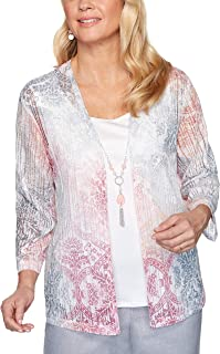 Alfred Dunner Womens Petite Abstract Floral Lace Trim Top
