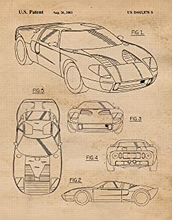 Original Ford GT40 Patent Poster Prints, Set of 1 (11x14) Unframed Photo, Wall Art Decor Gifts Under 15 for Home, Office, Garage, Shop, Man Cave, College Student, Mechanic, American Cars & Coffee Fan