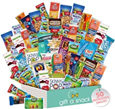 Healthy Snack Box Variety Pack (50 Count) Mothers Day Gift Basket - College Student Care Package, Natural Food Bar Nut Fru...