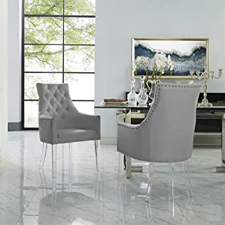 Marilyn Light Grey Dining Chair – Linen | Set of 2 | Tufted | Acrylic Leg | Inspired Home