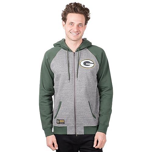 Small Gray NFL Green Bay Packers Mens Fleece Hoodie Pullover Sweatshirt Vintage Logo
