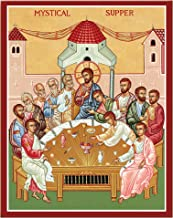 """Monastery Icons Mystical Supper (Last Supper) Mounted Plaque Icon Reproduction 7.8"""" x 10"""""""