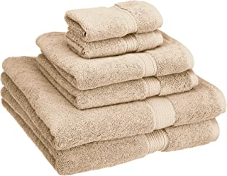 Superior 900 GSM Luxury Bathroom 6-Piece Towel Set, Made Long-Staple Combed Cotton, 2 Hotel & Spa Quality Washcloths, 2 Hand Towels, and 2 Bath Towels - Stone