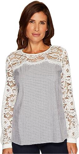 CeCe - Long Sleeve Yarn-Dye Pinstripe Lace Yoke Blouse