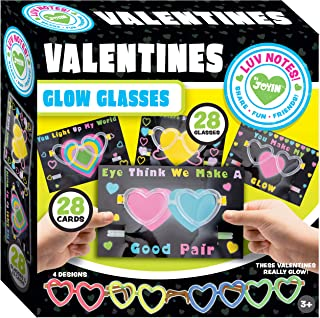 JOYIN 28 Packs Cards for Kids with Heart Shaped Glasses and Light-up Glow Sticks Valentine Classroom Exchange Party Favor Toy