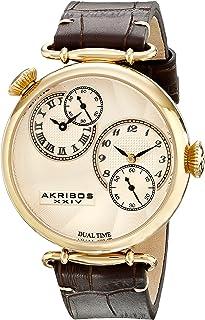 Akribos XXIV Men's Dual Time Watch - Engraved Sunburst Guilloche Dial On Embossed Crocodile Pattern Leather Strap - AK796
